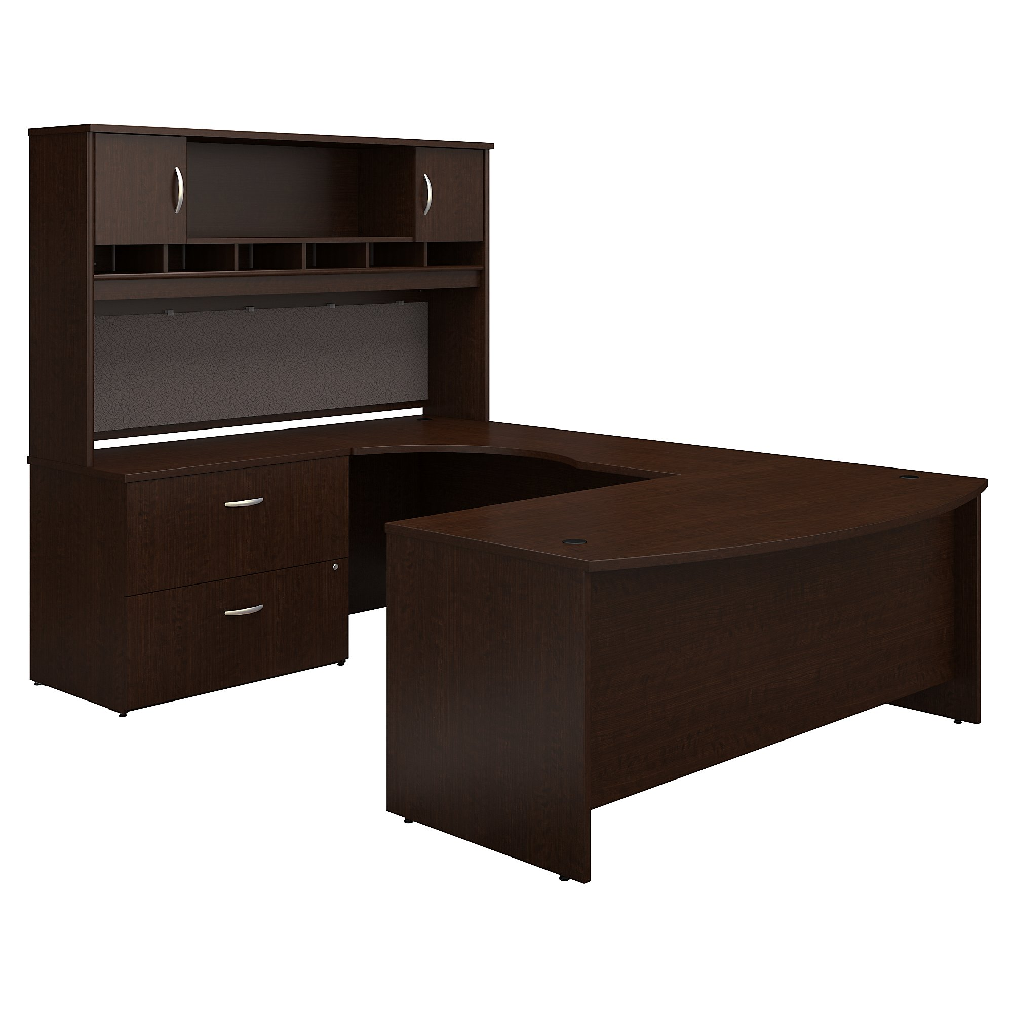 Bush Business Furniture Series C 72w Left Handed Bow Front U Shaped Desk With Hutch And Storage In Mocha Cherry Carrolls Office Furniture