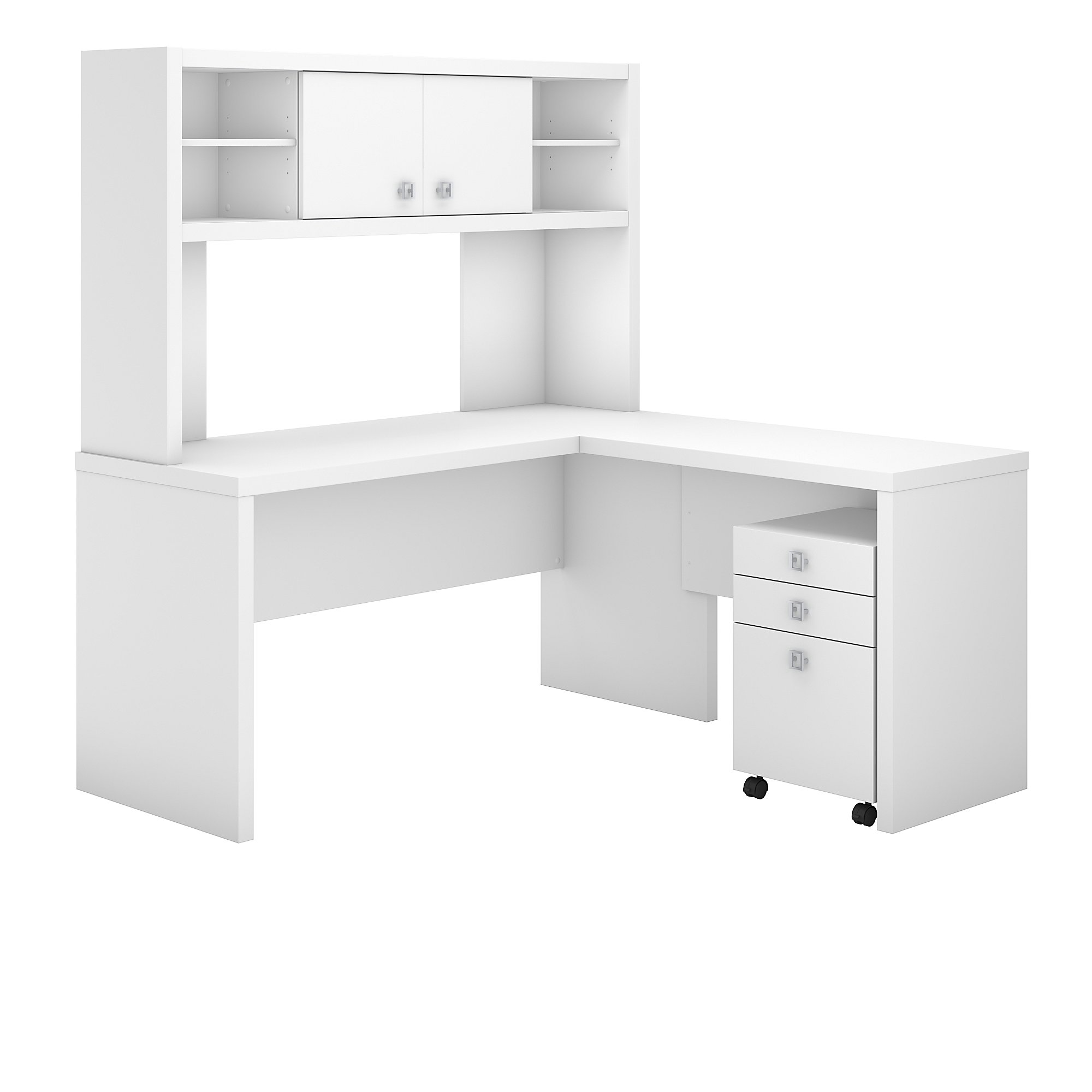 Office By Kathy Ireland Echo L Shaped Desk With Hutch And Mobile File Cabinet In Pure White Carrolls Office Furniture