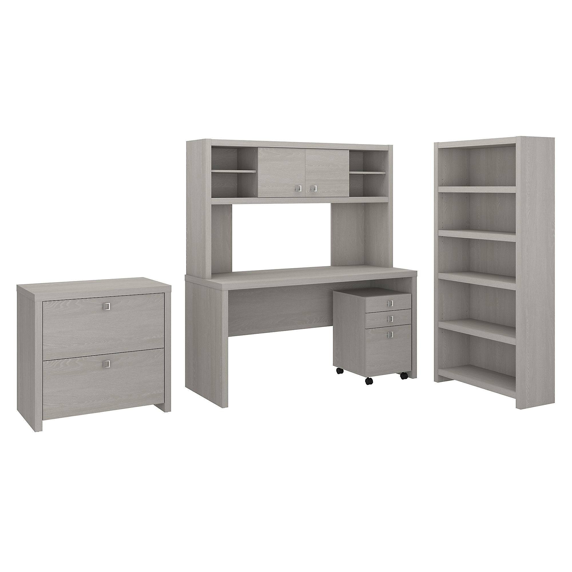 Office By Kathy Ireland Echo Desk With Hutch Bookcase And File Cabinets In Gray Sand