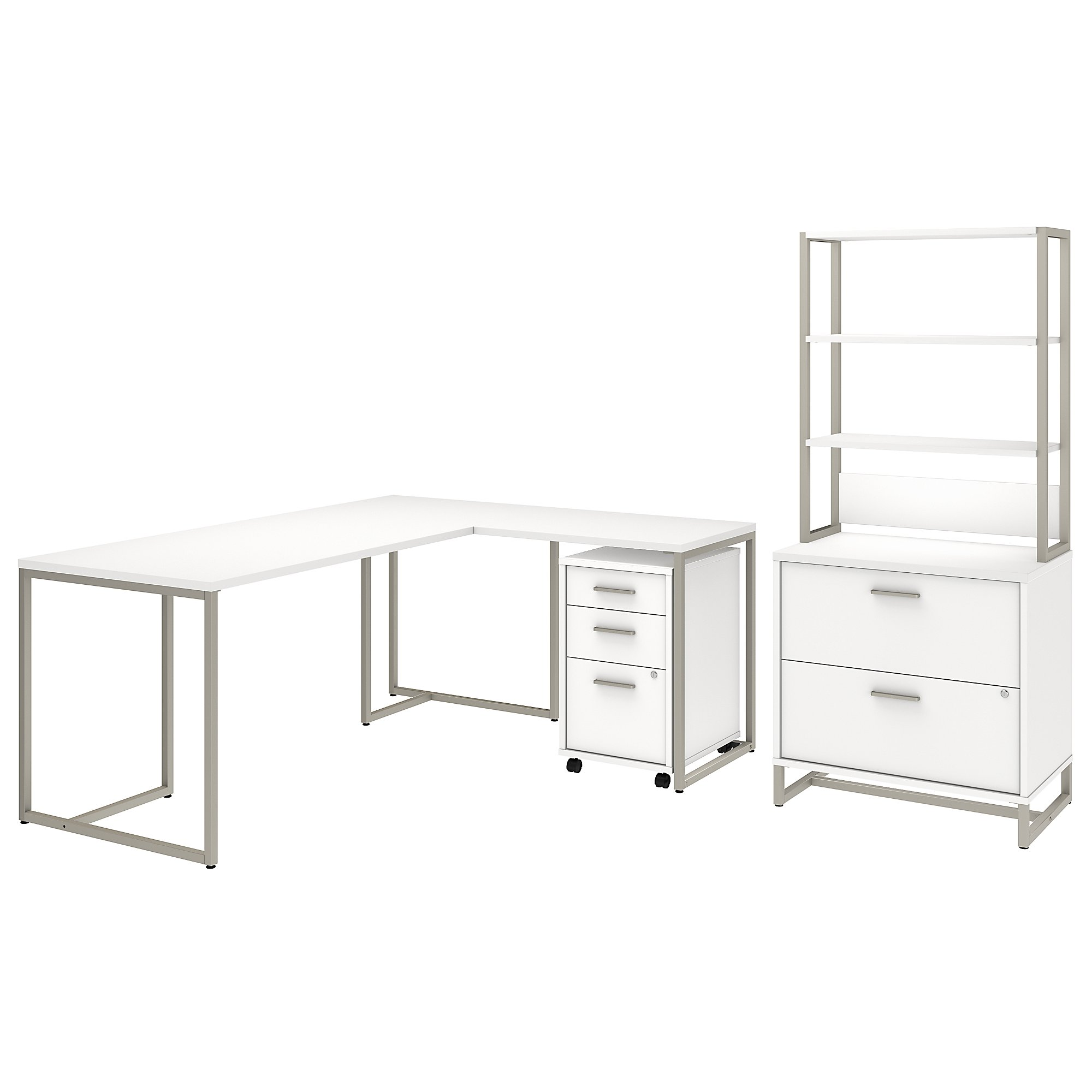 Office By Kathy Ireland Method 72w L Shaped Desk With 30w Return File Cabinets And Hutch In White Carrolls Office Furniture