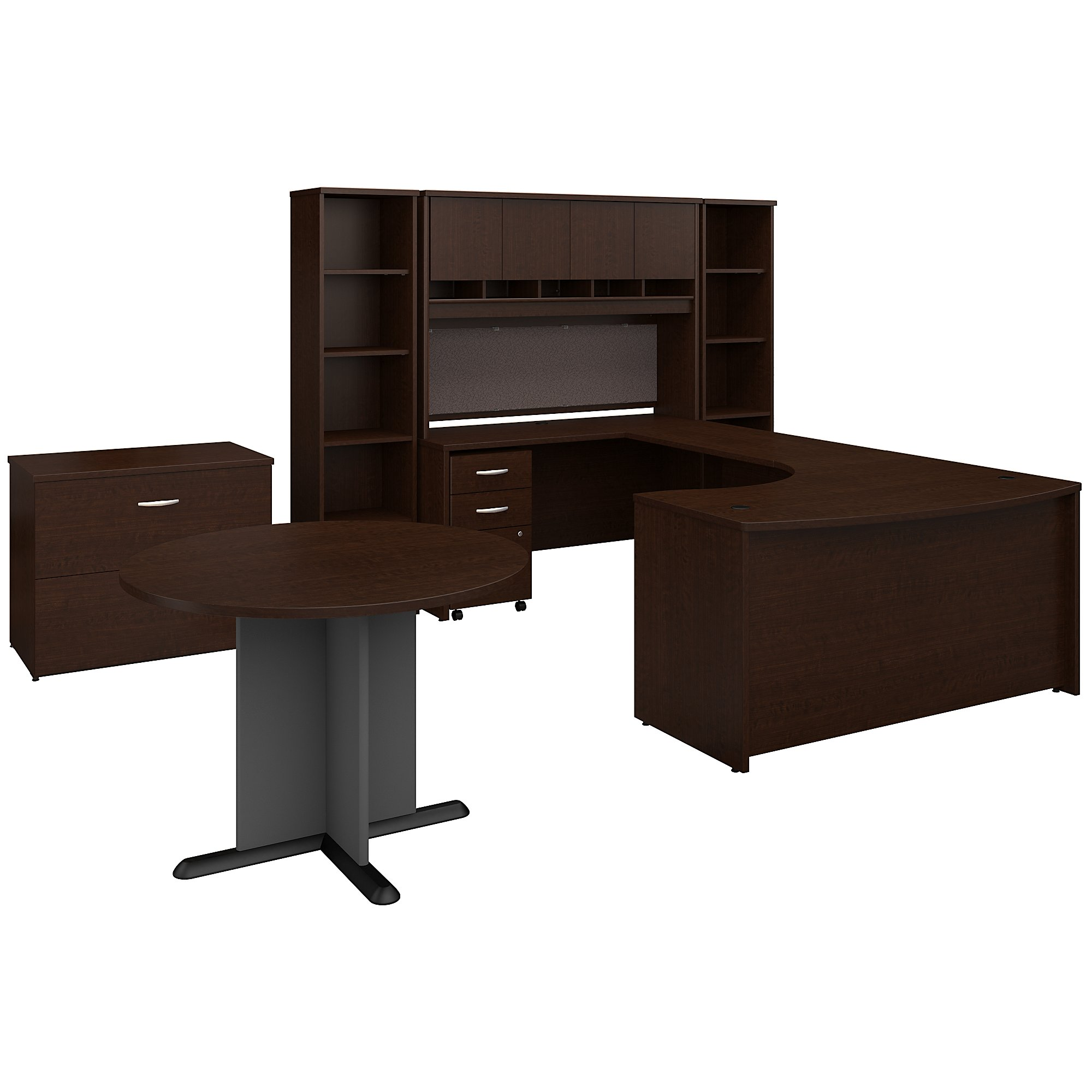 Bush Business Furniture Series C 72W Right Handed Bow Front U Shaped Desk with Hutch and Storage Mocha Cherry