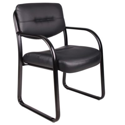 Boss Leather Sled Base Side Chair with Arms