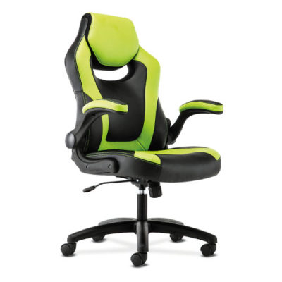 Sadie Racing Style Gaming Chair Flip-Up Arms Green