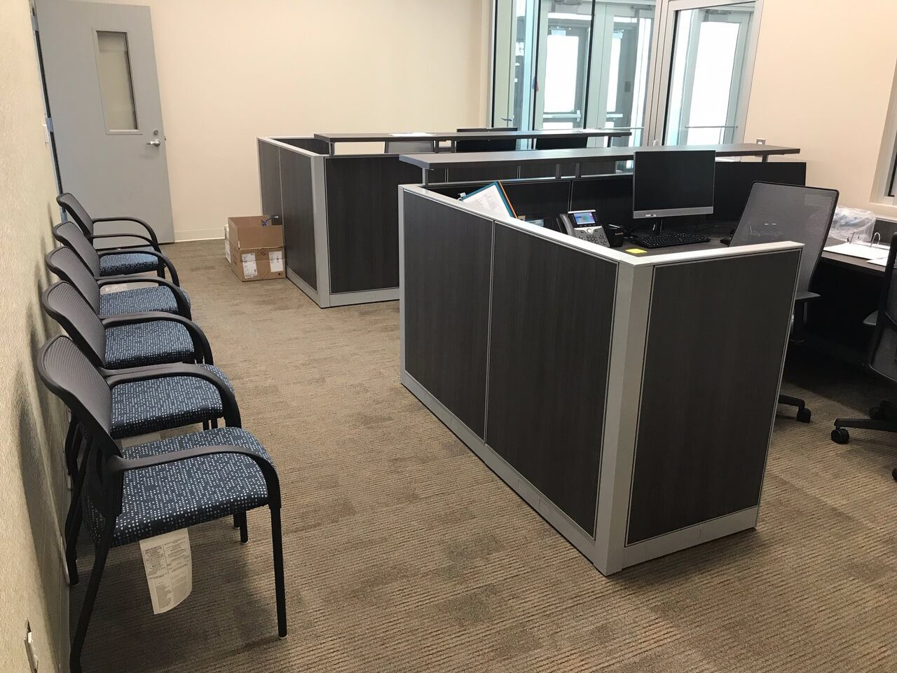 office cubicles set up in a houston office