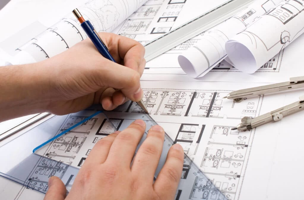 worker from carrolls office working on space planning