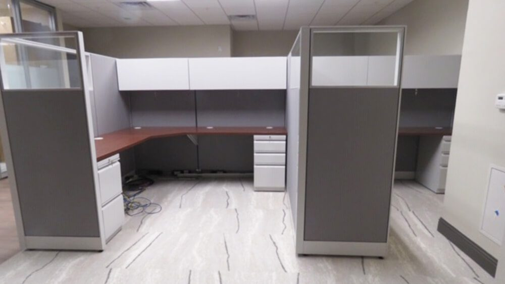 Front view of cubicle