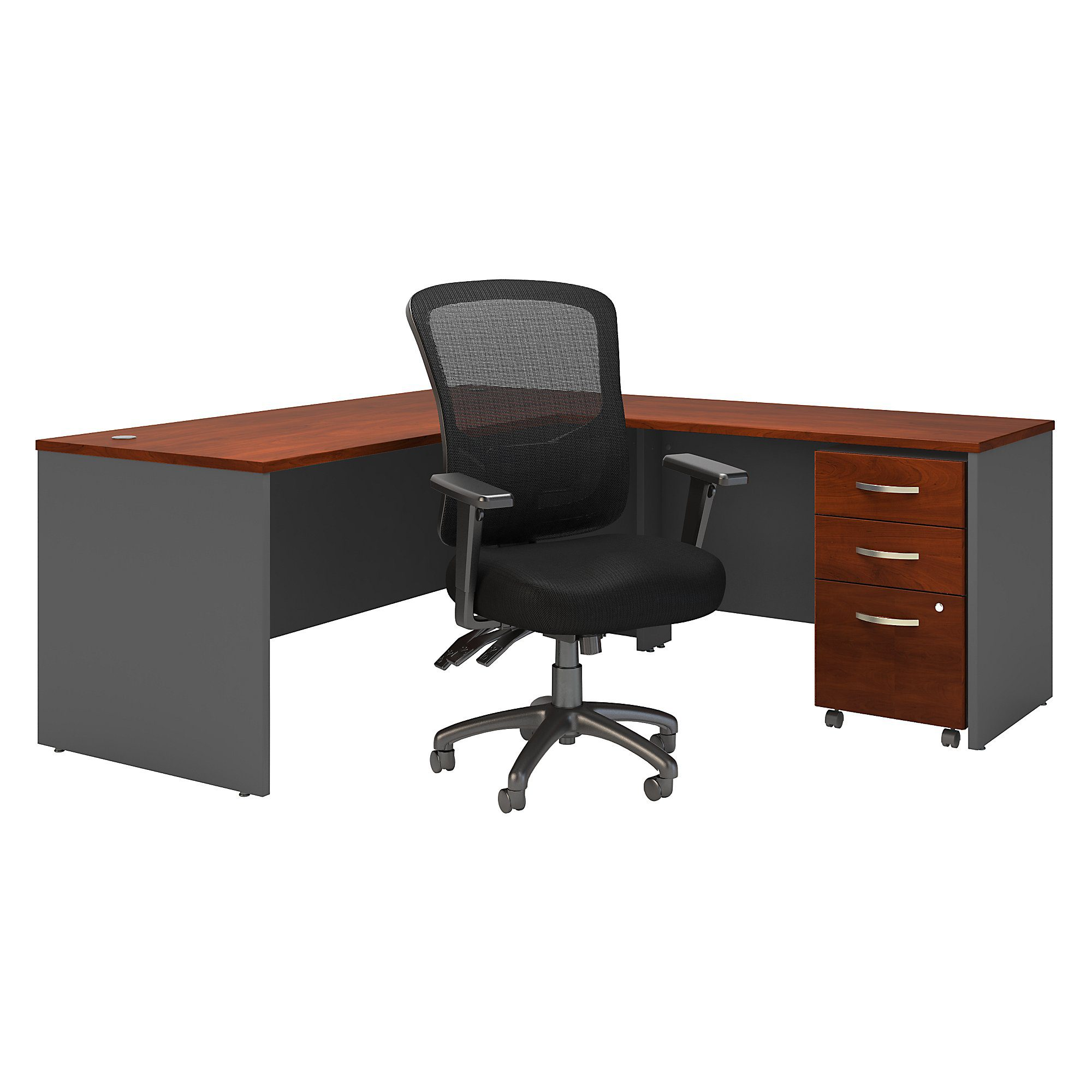 Bush Business Furniture Series C 72w L Shaped Desk With Mobile File Cabinet And High Back Multifunction Office Chair Carrolls Office Furniture