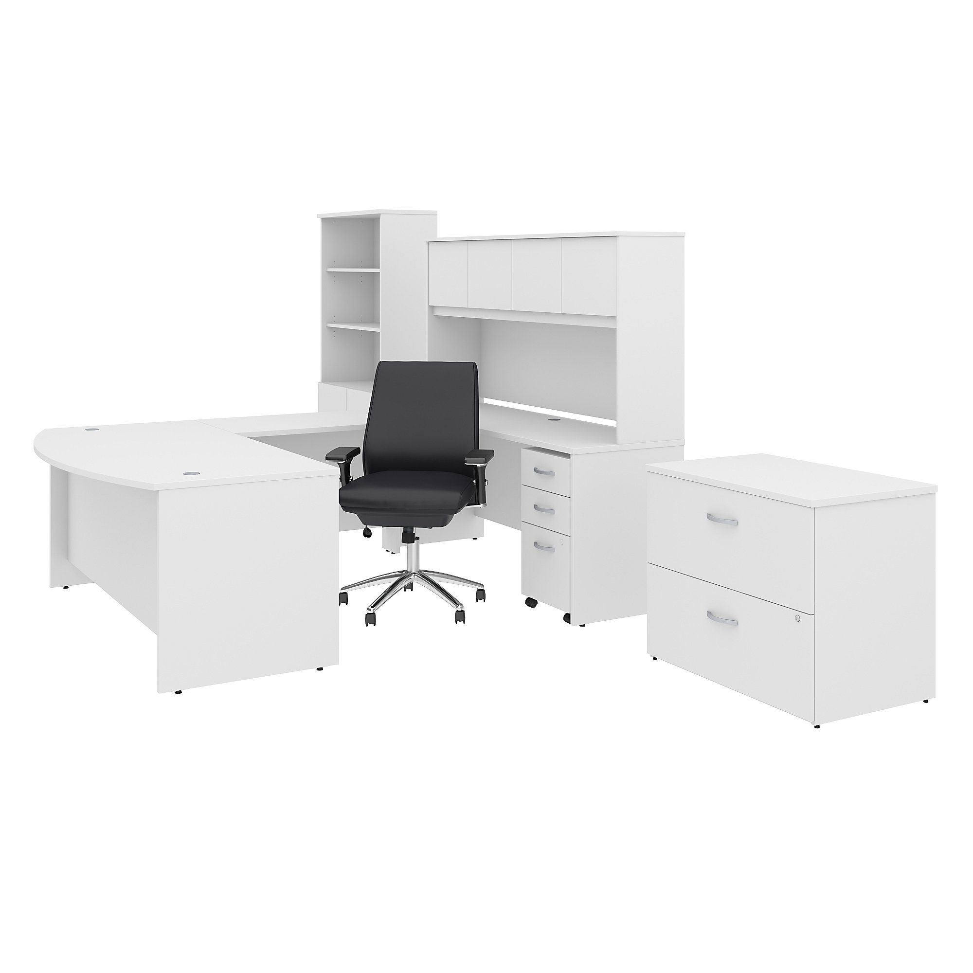 Bush Business Furniture Studio C 50W x 50D U Shaped Desk with Hutch,  Bookcase, File Cabinets and Mid Back Office Chair
