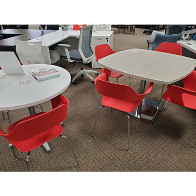 Break Room Furniture red chairs and tables