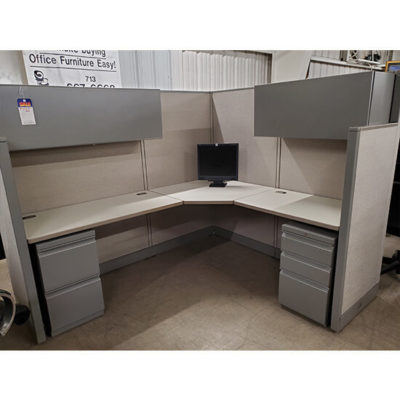 Grey Cubicle with Shelves