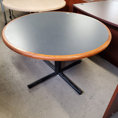 Round Table with Dark Gray Center and Black Base