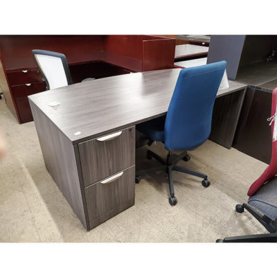 Gray Bow Front Desk with 2 drawers