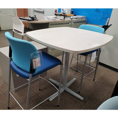 Tall breakroom furniture with blue chairs