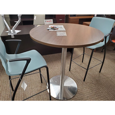 baby blue break room chairs and tan table