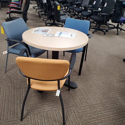 break room furniture blue and tan chairs with round table