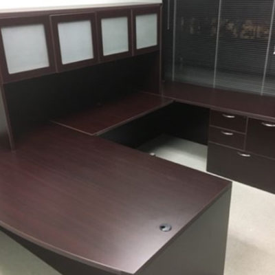 UStation Desk with glass front hutch